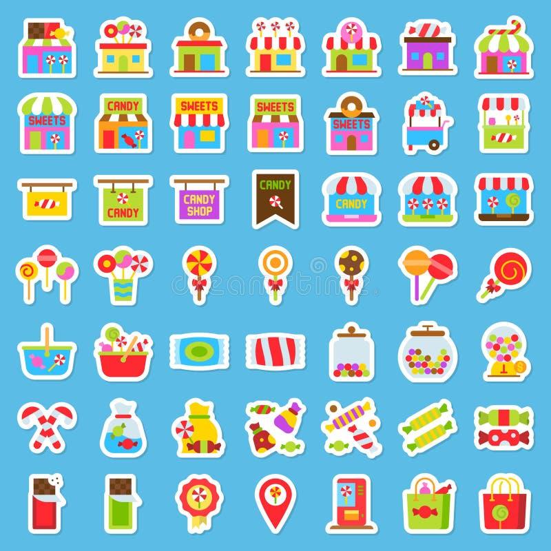 Γλυκό σχετικό με το κατάστημα σύνολο εικονιδίων αυτοκόλλητων ετικεττών, διανυσματική απεικόνιση απεικόνιση αποθεμάτων