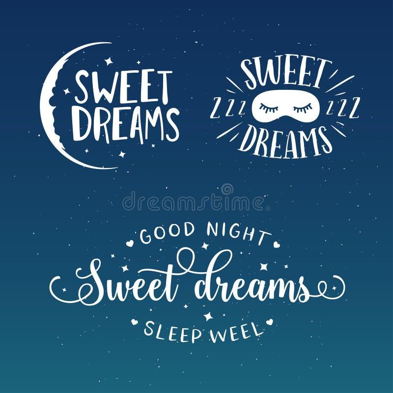 Γλυκό σύνολο τυπογραφίας καληνύχτας ονείρων Διανυσματική εκλεκτής ποιότητας απεικόνιση απεικόνιση αποθεμάτων