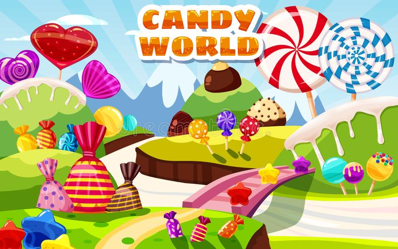 Γλυκό τοπίο παγκόσμιων νεράιδων καραμελών, πανόραμα Γλυκά, καραμέλες, καραμέλα Υπόβαθρο παιχνιδιών κινούμενων σχεδίων r διανυσματική απεικόνιση