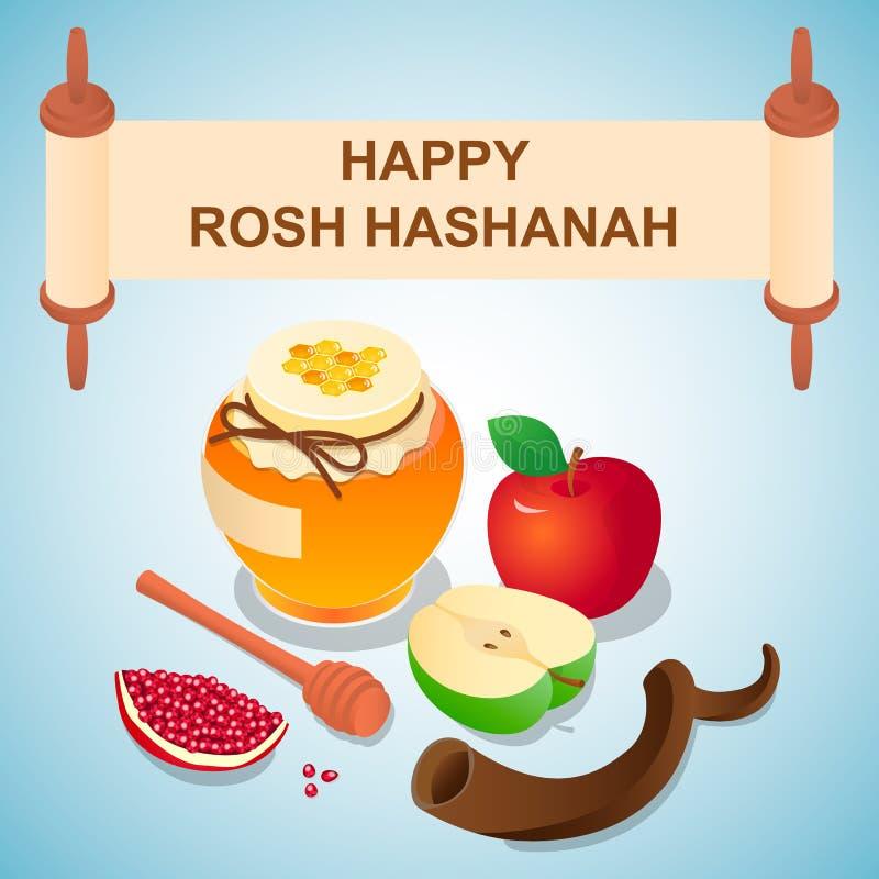Γλυκό υπόβαθρο έννοιας rosh hashanah, isometric ύφος διανυσματική απεικόνιση