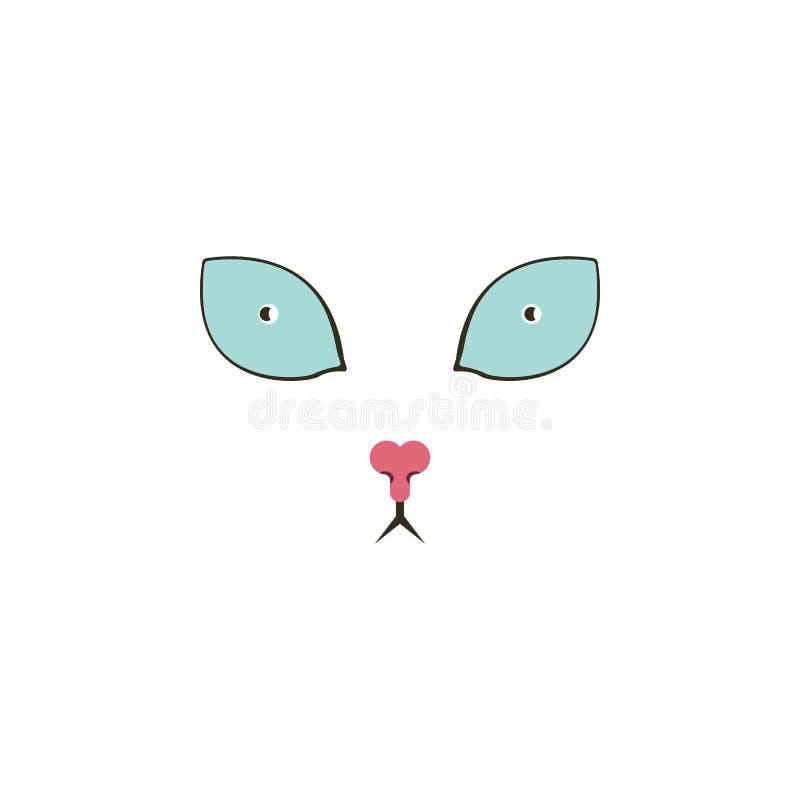 Γλυκό φοβησμένο γάτα εικονίδιο χρώματος ματιών Στοιχεία των πολυ χρωματισμένων εικονιδίων ματιών Γραφικό εικονίδιο σχεδίου εξαιρε απεικόνιση αποθεμάτων