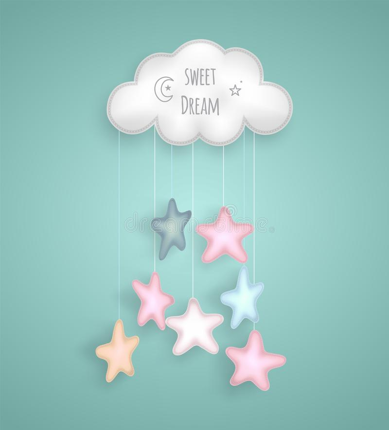 Γλυκό όνειρο με το σύννεφο και τα αστέρια διανυσματική απεικόνιση