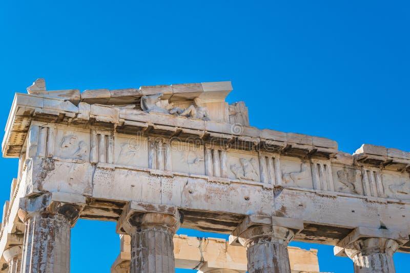Γλυπτά σε Parthenon ` s frieze της ακρόπολη Ελλάδα της Αθήνας στοκ εικόνες