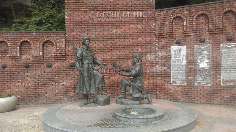 Γλυπτική σύνθεση που αφιερώνεται στην πρώτη εκστρατεία του Peter Ι στο φυλάκιο της αυτοκρατορίας Osman, η πόλη Azov στοκ φωτογραφία με δικαίωμα ελεύθερης χρήσης