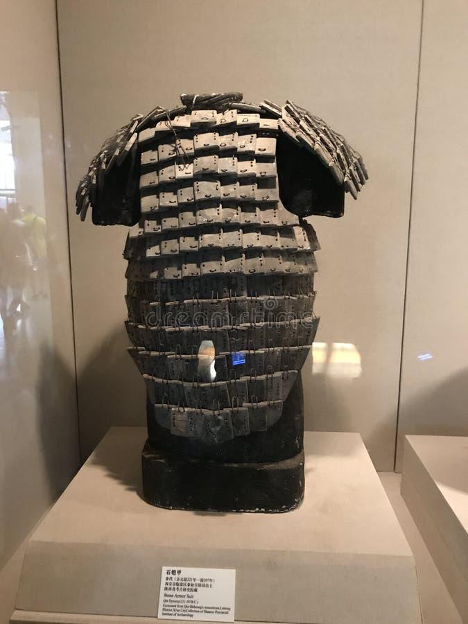Γλυπτό του πολιτιστικού τεθωρακισμένου λειψάνων του επαρχιακού μουσείου ιστορίας Shaanxi στοκ εικόνες