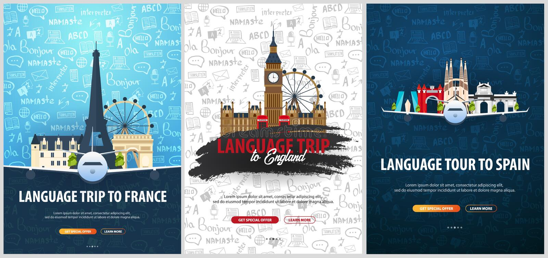 Γλωσσικό ταξίδι, γύρος, ταξίδι στην Αγγλία, Γαλλία, Ισπανία Γλώσσες εκμάθησης Η διανυσματική απεικόνιση με χέρι-σύρει doodle απεικόνιση αποθεμάτων
