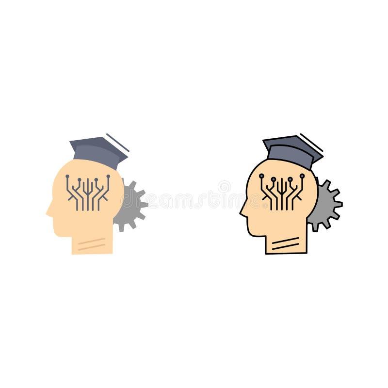 γνώση, διαχείριση, μοιραμένος, έξυπνος, επίπεδο διάνυσμα εικονιδίων χρώματος τεχνολογίας ελεύθερη απεικόνιση δικαιώματος
