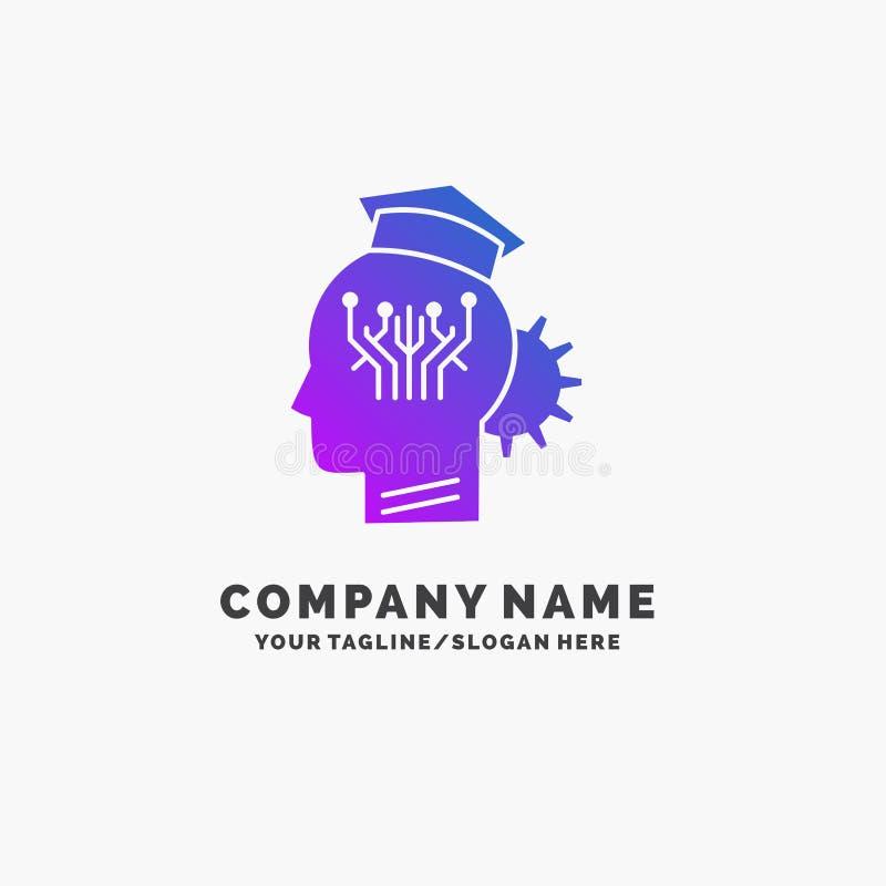 γνώση, διαχείριση, μοιραμένος, έξυπνος, πορφυρό πρότυπο επιχειρησιακών λογότυπων τεχνολογίας r διανυσματική απεικόνιση