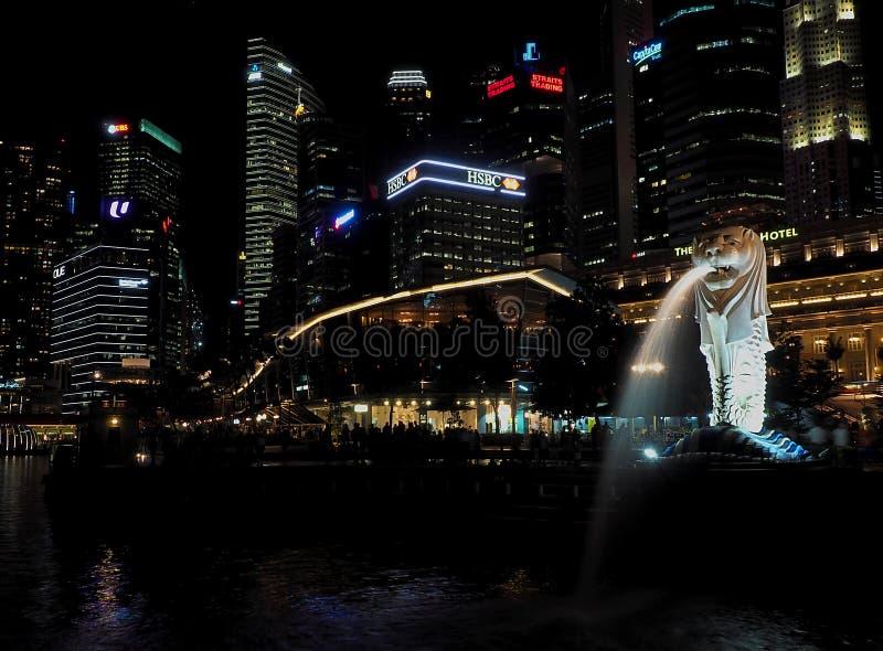 Γοητεία νύχτας της Σιγκαπούρης στοκ φωτογραφίες