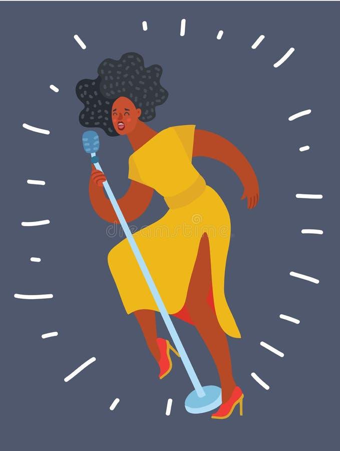 Γοητευτικός θηλυκός τραγουδιστής αφροαμερικάνων, απεικόνιση αποθεμάτων