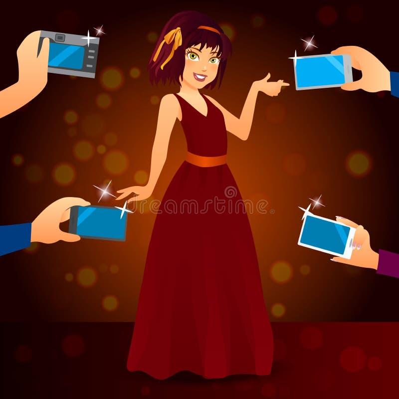 Γοητευτικός θηλυκός τραγουδιστής στο φόρεμα διανυσματική απεικόνιση