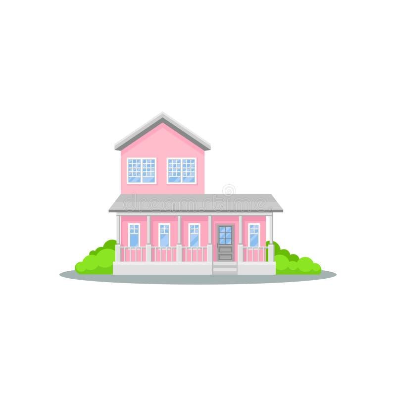 Γοητευτικό διώροφο ρόδινο σπίτι με το πεζούλι Μικρή οικογενειακή κατοικία Βεραμάν θάμνοι Άνετο κατοικημένο εξοχικό σπίτι επίπεδος διανυσματική απεικόνιση