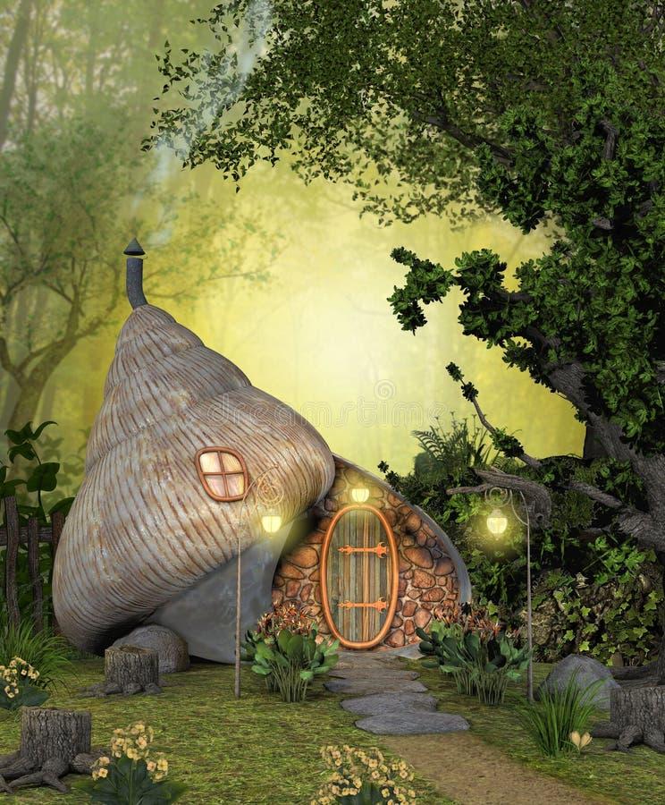 Γοητευτικό μαγικό σπίτι κοχυλιών νεράιδων σε ένα βαθύ δάσος ελεύθερη απεικόνιση δικαιώματος