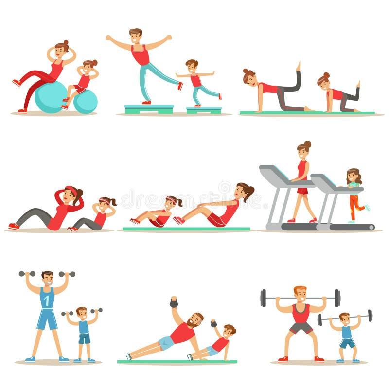 Γονέας και παιδί που κάνουν τις αθλητικές ασκήσεις και αθλητισμός που εκπαιδεύει μαζί να έχε τη σειρά διασκέδασης σκηνών διανυσματική απεικόνιση