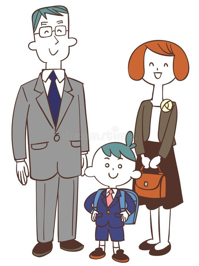 Γονέας τελετής σχολικών εισόδων και αγόρι παιδιών ελεύθερη απεικόνιση δικαιώματος