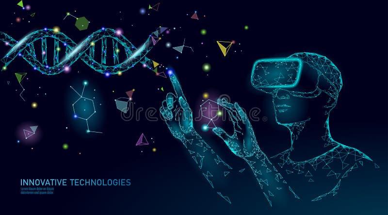 Γονίδιο της βιολογίας επιστήμης που τροποποιεί την έννοια VR ολογραφικά γυαλιά εικονικής πραγματικότητας προβολής κασκών Φουτουρι διανυσματική απεικόνιση