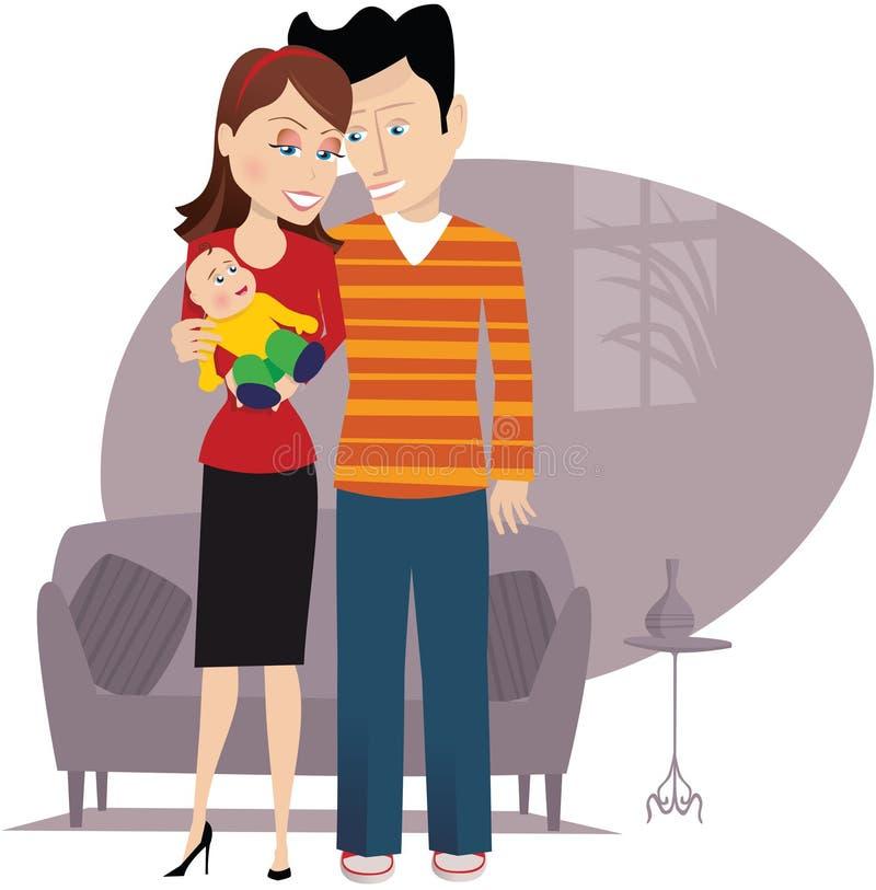 Γονείς και νέο μωρό απεικόνιση αποθεμάτων