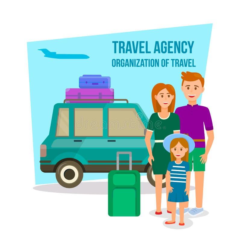 Γονείς που ταξιδεύουν με την κόρη στο θερινό χρόνο διανυσματική απεικόνιση