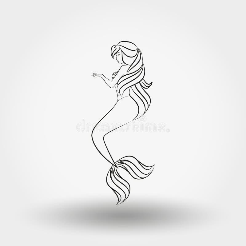 γοργόνα Γραμμή τέχνης διανυσματική απεικόνιση