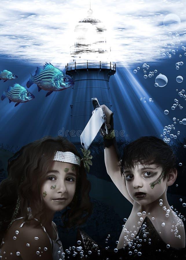 γοργόνα παιδιών υποβρύχια στοκ εικόνα