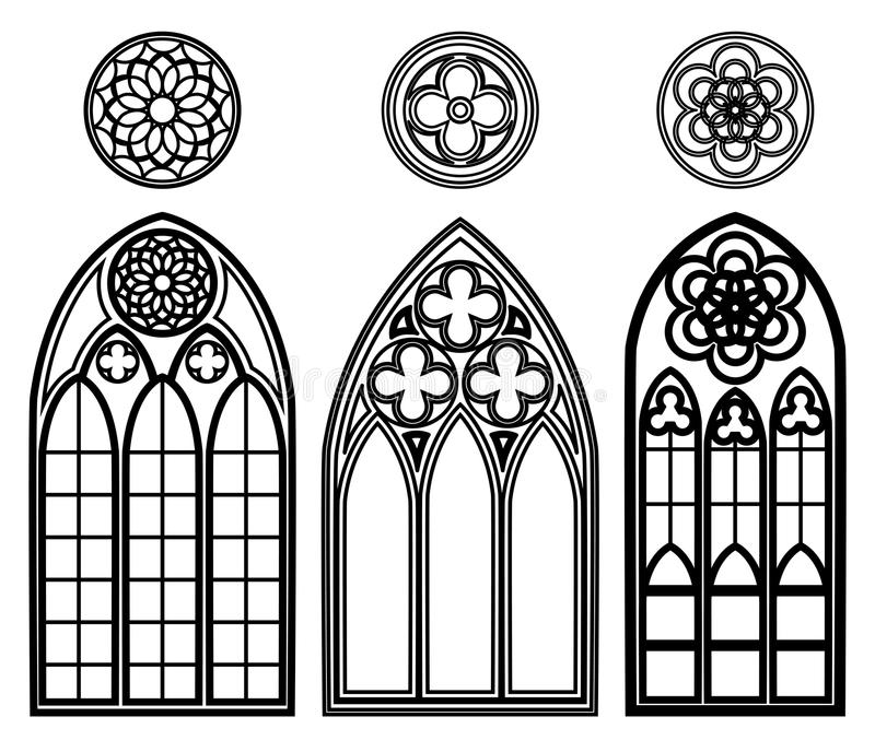 Γοτθικά παράθυρα των καθεδρικών ναών απεικόνιση αποθεμάτων