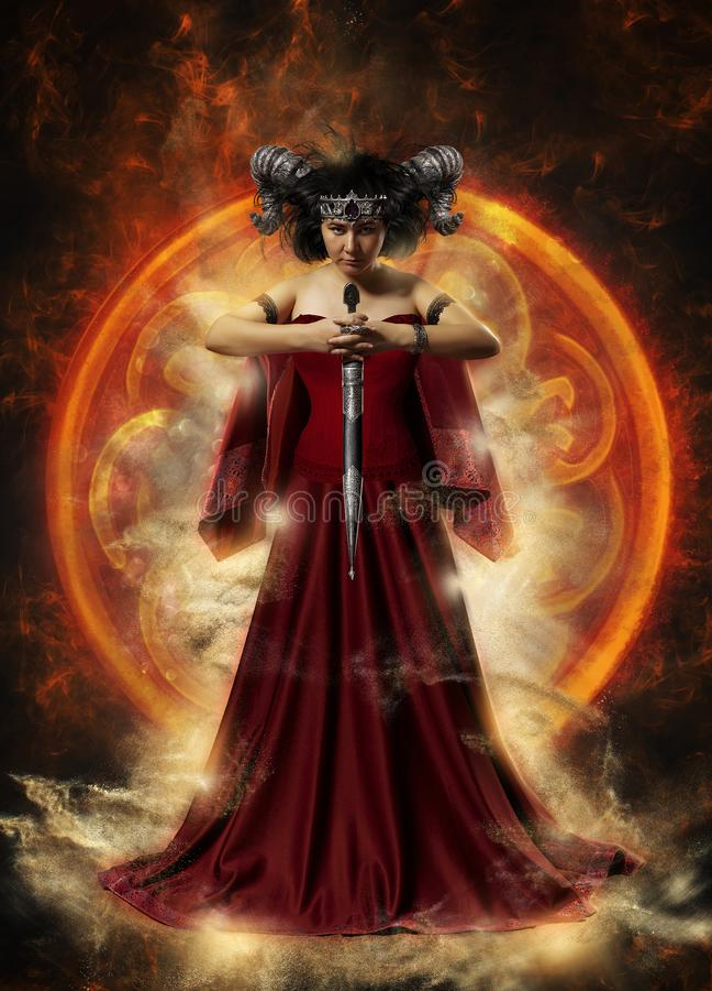 Γοτθική βασίλισσα κόκκινο να κάνει φορεμάτων μαγικό στοκ φωτογραφίες