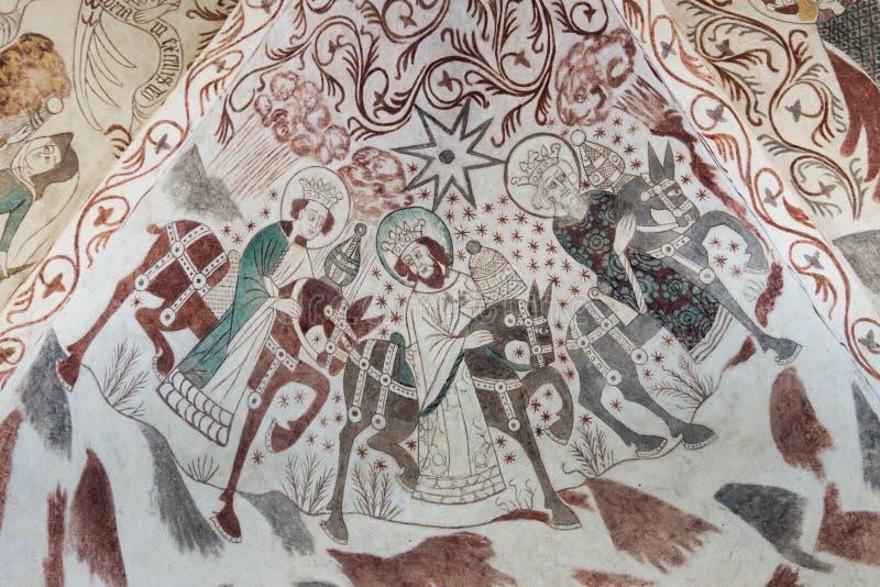 Γοτθική ζωγραφική τοίχων του Epiphany στοκ φωτογραφίες
