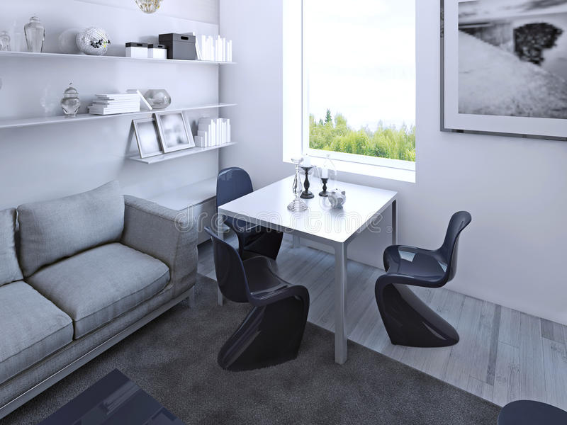 Γοτθικός να δειπνήσει πίνακας με τις σκούρο μπλε καρέκλες διανυσματική απεικόνιση