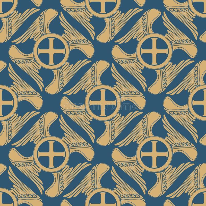Γοτθικός σταυρός με τα φτερά με μορφή του swastica πρότυπο άνευ ραφής διανυσματική απεικόνιση