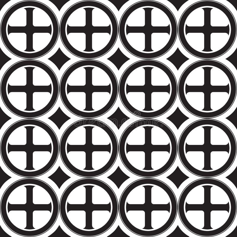 Γοτθικός σταυρός στο άνευ ραφής σχέδιο κύκλων Δημοφιλές motiff στη μεσαιωνική ευρωπαϊκή και βυζαντινή τέχνη ελεύθερη απεικόνιση δικαιώματος