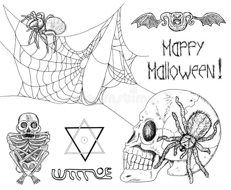 Γοτθικό σύνολο με τις αράχνες, το κρανίο και τους δαίμονες ελεύθερη απεικόνιση δικαιώματος