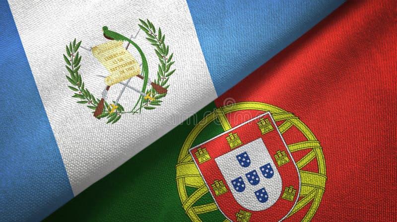 Γουατεμάλα και Πορτογαλία δύο υφαντικό ύφασμα σημαιών, σύσταση υφάσματος ελεύθερη απεικόνιση δικαιώματος