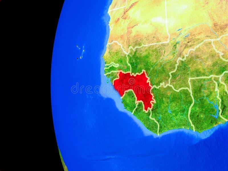Γουινέα από το διάστημα ελεύθερη απεικόνιση δικαιώματος