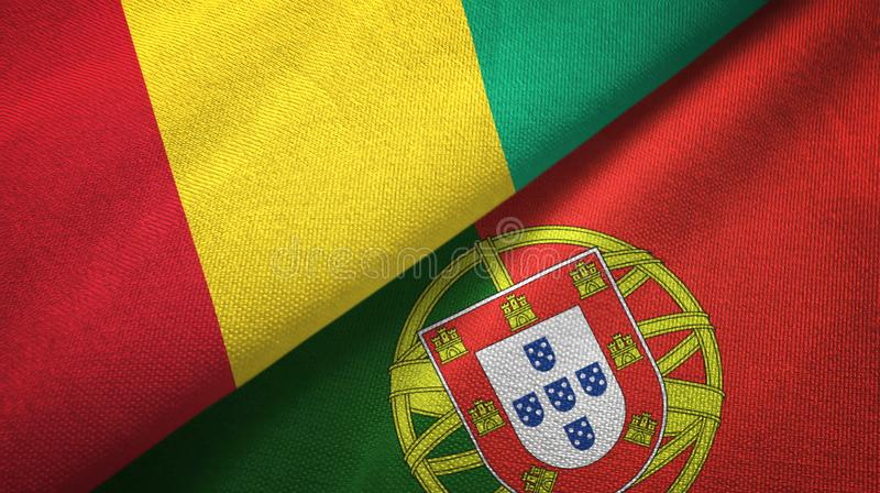 Γουινέα και Πορτογαλία δύο υφαντικό ύφασμα σημαιών, σύσταση υφάσματος απεικόνιση αποθεμάτων