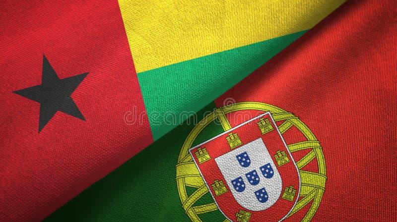 Γουινέα-Μπισσάου και Πορτογαλία δύο υφαντικό ύφασμα σημαιών, σύσταση υφάσματος διανυσματική απεικόνιση