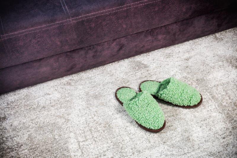 Γούνινες εγχώριες παντόφλες πράσινες στον τάπητα στοκ εικόνα