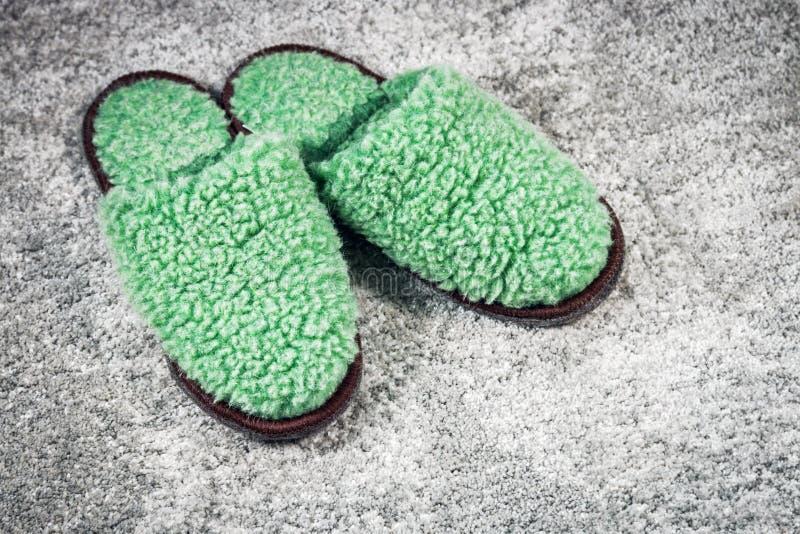 Γούνινες εγχώριες παντόφλες πράσινες στον τάπητα στοκ φωτογραφία