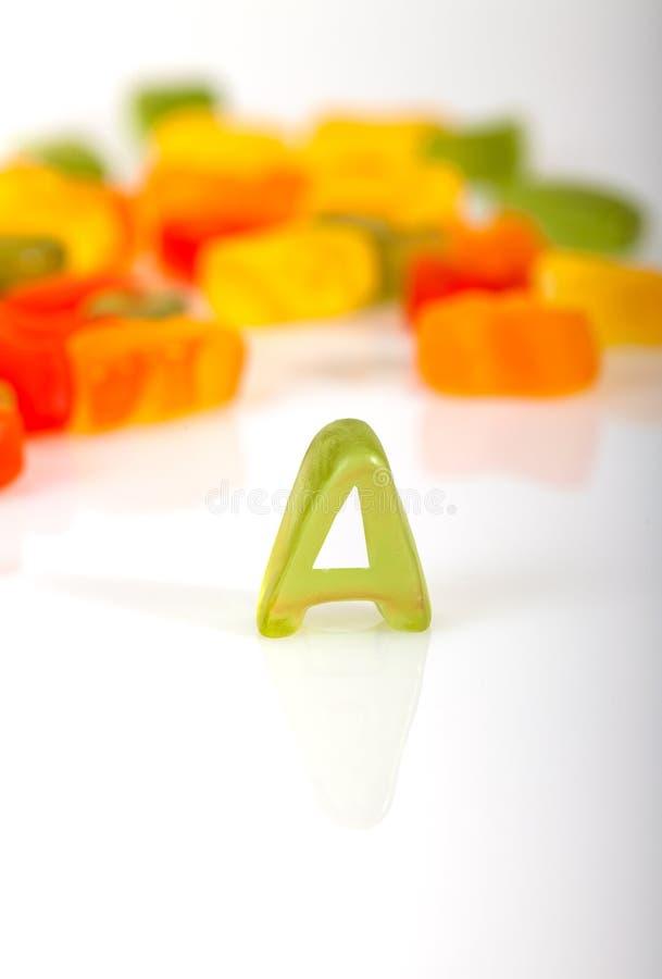 Γράμμα Α από την καραμέλα ζελατίνας στοκ φωτογραφία με δικαίωμα ελεύθερης χρήσης