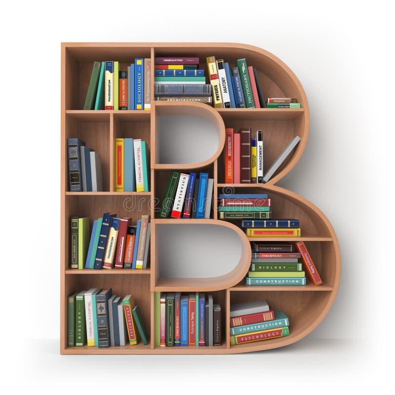 Γράμμα Β Αλφάβητο υπό μορφή ραφιών με τα βιβλία που απομονώνεται επάνω απεικόνιση αποθεμάτων