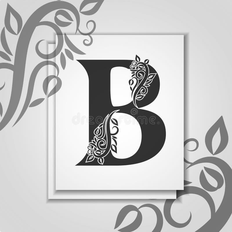 Γράμμα Β ασφαλίστρου με το κομψό floral περίγραμμα για το λογότυπο αρχικών Γράμμα Β καρτών πολυτέλειας Καθολικό πρότυπο συμβόλων  διανυσματική απεικόνιση
