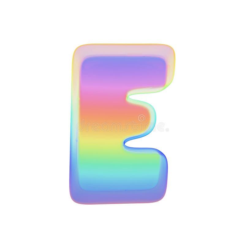Γράμμα Ε αλφάβητου κεφαλαίο Πηγή ουράνιων τόξων φιαγμένη από φωτεινή φυσαλίδα σαπουνιών τρισδιάστατος δώστε απομονωμένος στην άσπ διανυσματική απεικόνιση