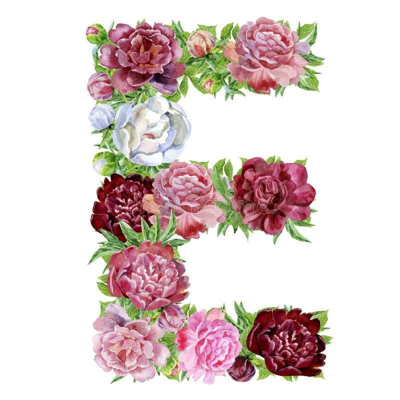 Γράμμα Ε των λουλουδιών watercolor ελεύθερη απεικόνιση δικαιώματος