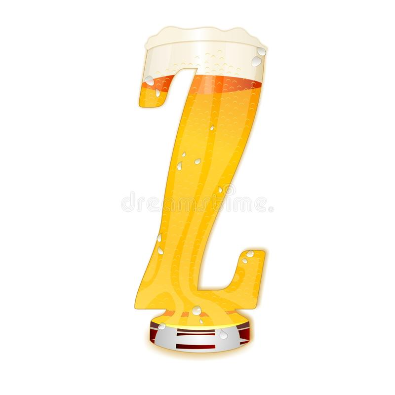 Γράμμα Ζ αλφάβητου μπύρας απεικόνιση αποθεμάτων