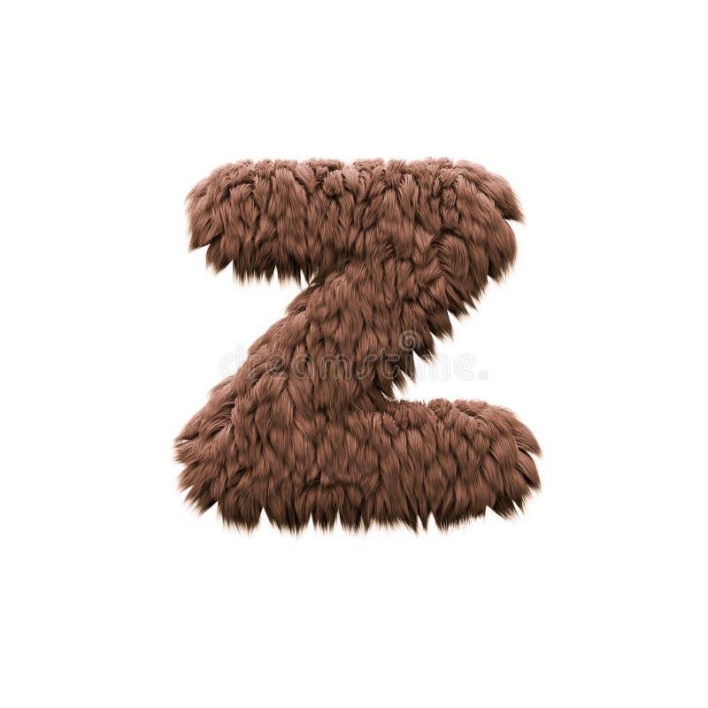 Γράμμα Ζ - πεζή τρισδιάστατη πηγή τεράτων αποκριών - φρίκη, yeti ή sasquatch έννοια απεικόνιση αποθεμάτων