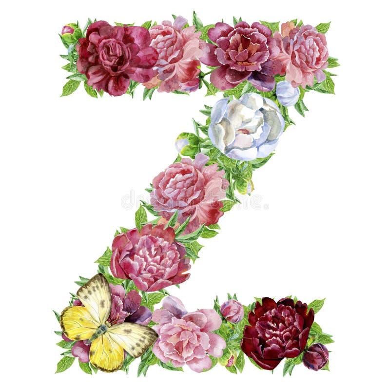 Γράμμα Ζ των λουλουδιών watercolor ελεύθερη απεικόνιση δικαιώματος