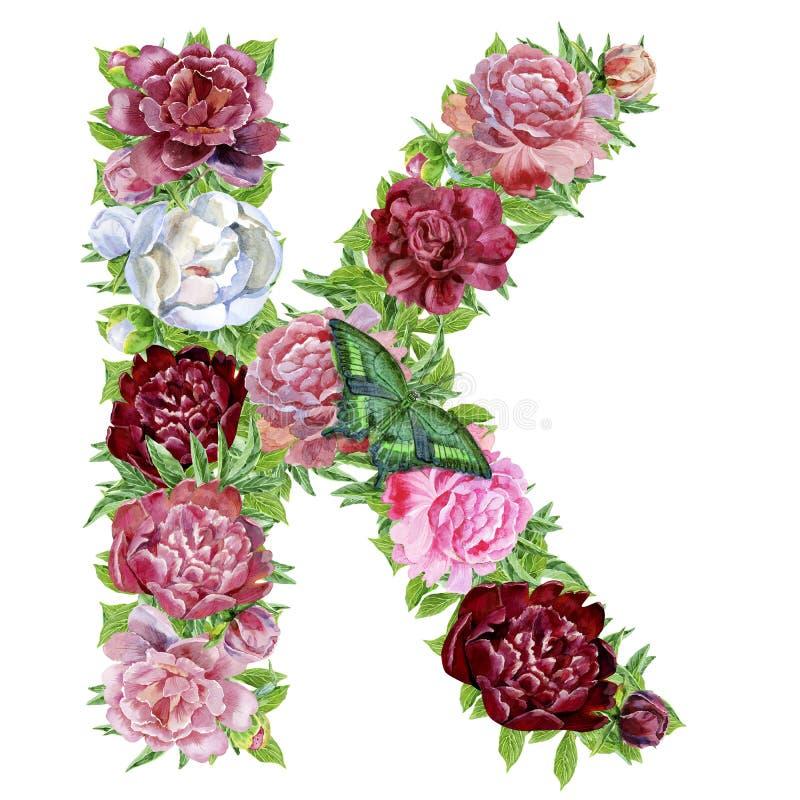 Γράμμα Κ των λουλουδιών watercolor ελεύθερη απεικόνιση δικαιώματος