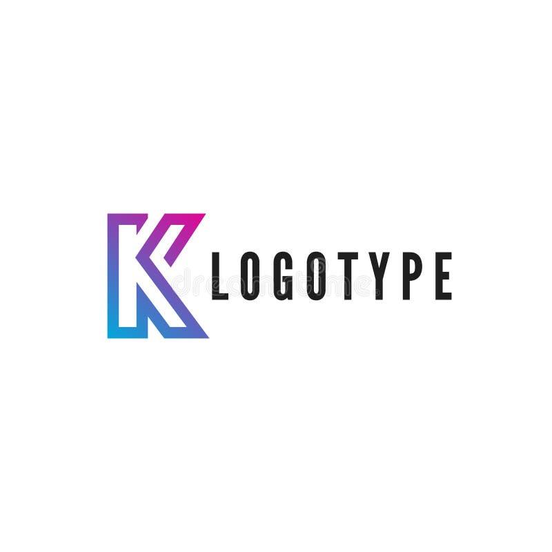 Γράμμα Κ logotype Μπλε και πορφυρό κτύπημα κλίσης από το λογότυπο Διανυσματική απεικόνιση που απομονώνεται στην άσπρη ανασκόπηση διανυσματική απεικόνιση