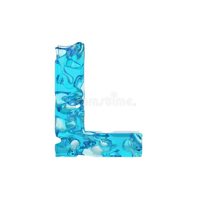 Γράμμα Λ αλφάβητου κεφαλαίο Υγρή πηγή φιαγμένη από φρέσκο μπλε νερό τρισδιάστατος δώστε απομονωμένος στην άσπρη ανασκόπηση ελεύθερη απεικόνιση δικαιώματος