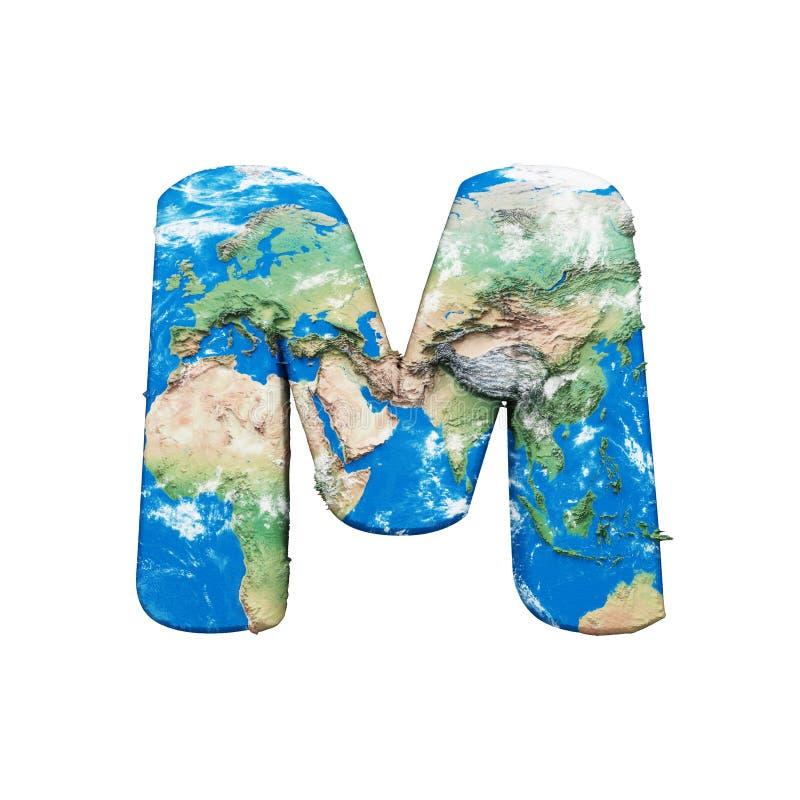 Γράμμα Μ αλφάβητου σφαιρών παγκόσμιας γης κεφαλαίο Σφαιρική παγκόσμια πηγή με το χάρτη της NASA τρισδιάστατος δώστε απομονωμένος  διανυσματική απεικόνιση