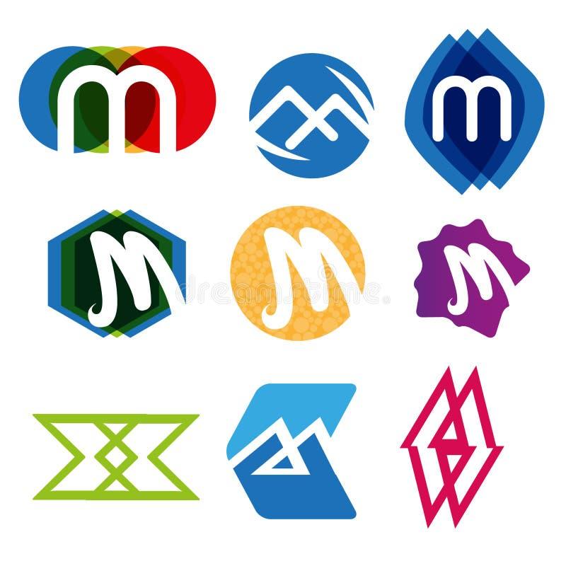 Γράμμα μ λογότυπων στοκ εικόνες